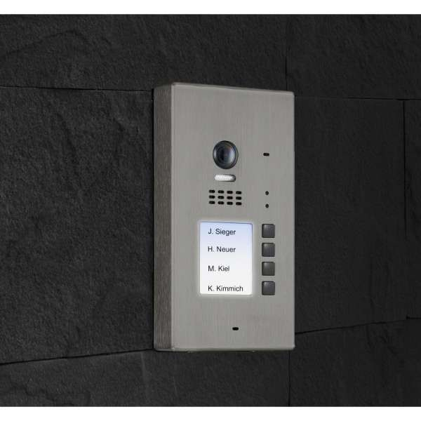 BALTER EVIDA Silber RFID Edelstahl-Türstation 4 Teilnehmer 2-Draht BUS 170° Kamera Aufputz