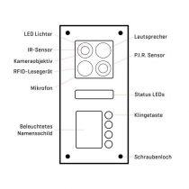 Vorschau: BALTER ERA Black RFID 2-Draht BUS IP Türstation für 4 Familienhaus 150° Weitwinkelobjektiv