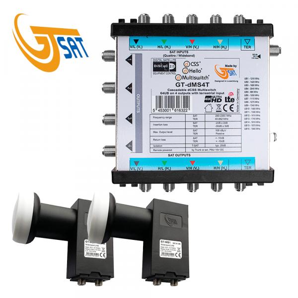 GT-SAT Unicable-Multiswitch GT-dMS4T 4x16UB für bis zu 64 Teilnehmer - 4K/UHD + 2X Wideband LNBs