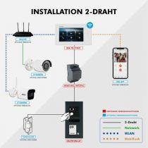 Preview: Balter ERA Graphit RFID 2-Draht IP 7 WiFi Video Türstation Aufputz iOS Android Set 1 Familienhaus