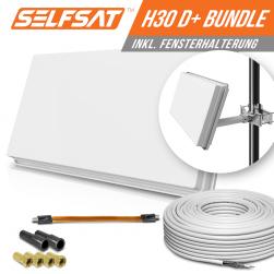 Selfsat H30D1+ 1 TV Teilnehmer SAT Flachantenne FLAT + profi Fensterdurchführung + Kabel FULL HD 4K