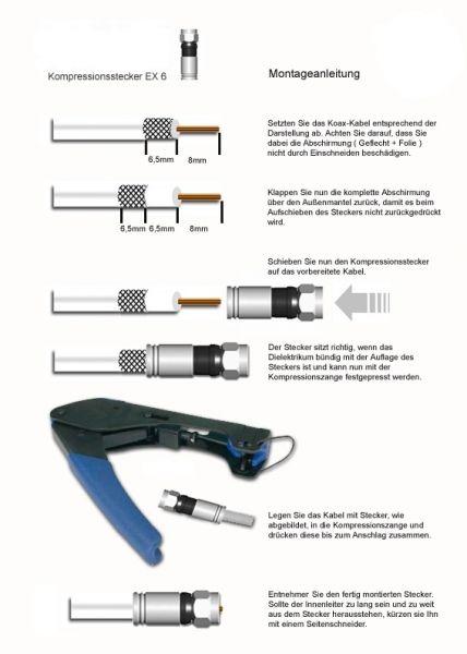 F-Kompressionsstecker EX 6-51/83 PPC für Koaxialkabel 7-7,5mm
