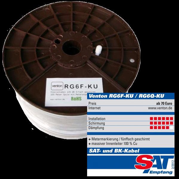 Venton Koaxial Sat Kabel RG6F-KU 140dB 5-fach geschirmt High Quality 100m