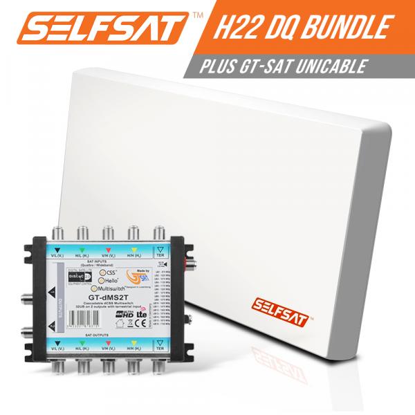 Selfsat H21DQ 32 TV Teilnehmer SAT Flachantenne FLAT + Unicable-Multiswitch FULL HD 4K