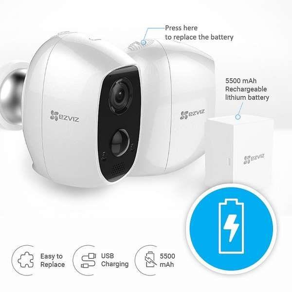 Ezviz C3A WLAN Outdoor 1080P Überwachungskamera Akku IP65 Nachtsicht Weiss