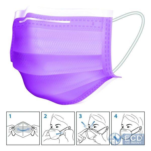50er Satz Mundschutz Atemschutzmaske Mund-Nasen-Schutz 3-lagig Schutzmaske Lila