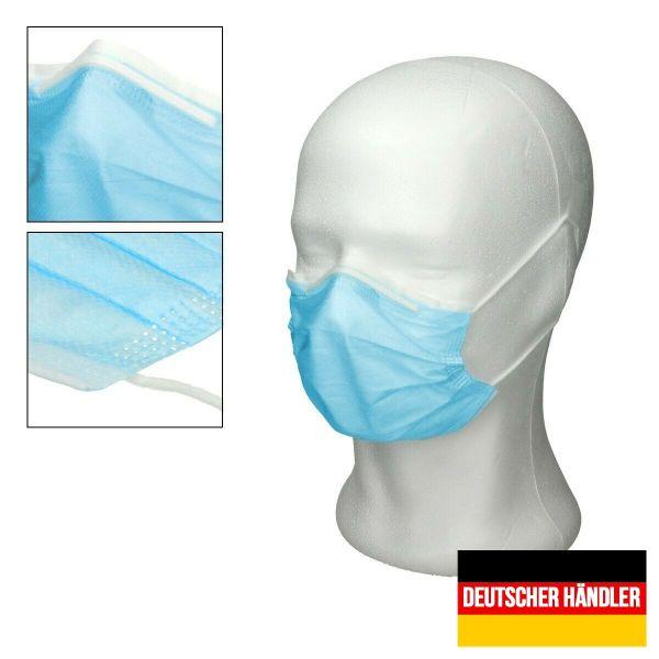 50er Satz Kinder Mund-Nasen-Schutz 3-lagig Mundschutz Gesichtsmaske für Kinder Blau