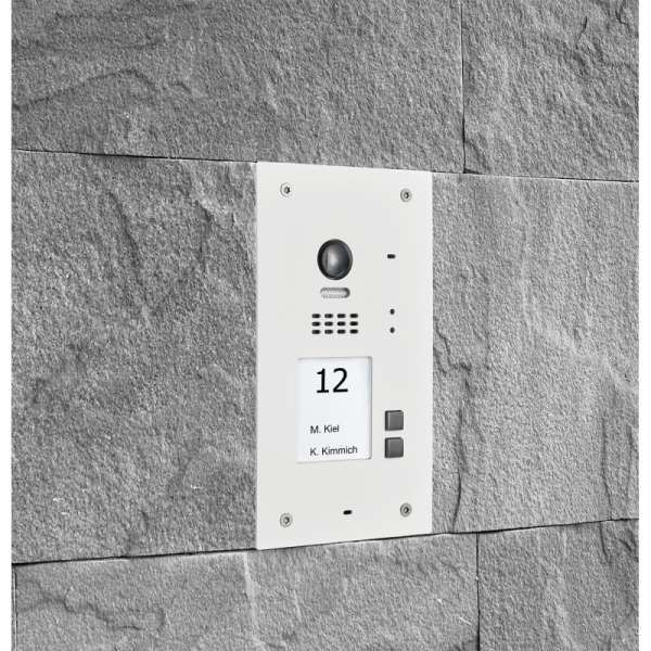 BALTER EVIDA Weiss RFID Edelstahl BUS Video Türstation 2x4.3 Wifi APP 2 Teilnehmer