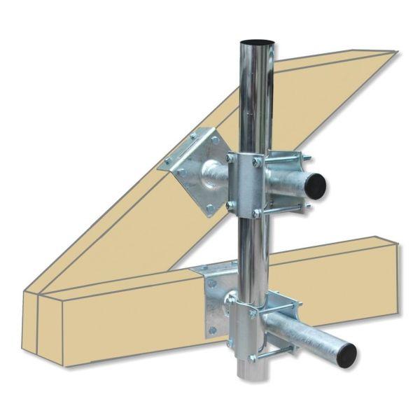 Dachmastmontageset für Mastrohre bis 60mm verzinkt