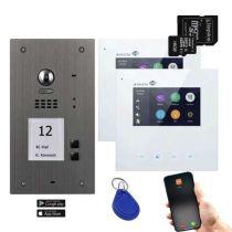 Vorschau: BALTER EVIDA Silber RFID Edelstahl BUS Video Türstation Set 4.3 Wifi APP 2 Familienhaus