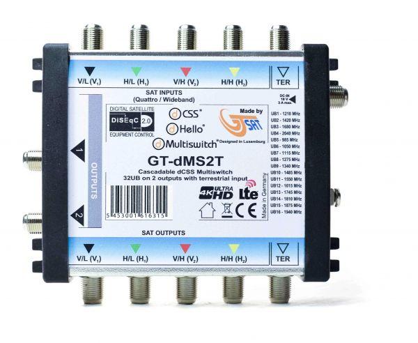 GT-SAT Unicable-Multiswitch GT-dMS2T 2x16UB für bis zu 32 Teilnehmer - 4K/UHD + 2X Wideband LNBs