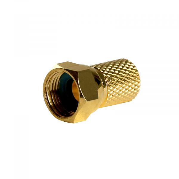 F-Stecker 7,4mm Breite Mutter Vergoldet mit Gummidichtung