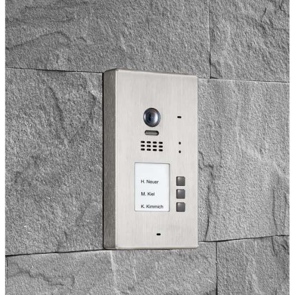 BALTER EVIDA Silber RFID Edelstahl-Türstation 3 Teilnehmer 2-Draht BUS 170° Kamera Aufputz