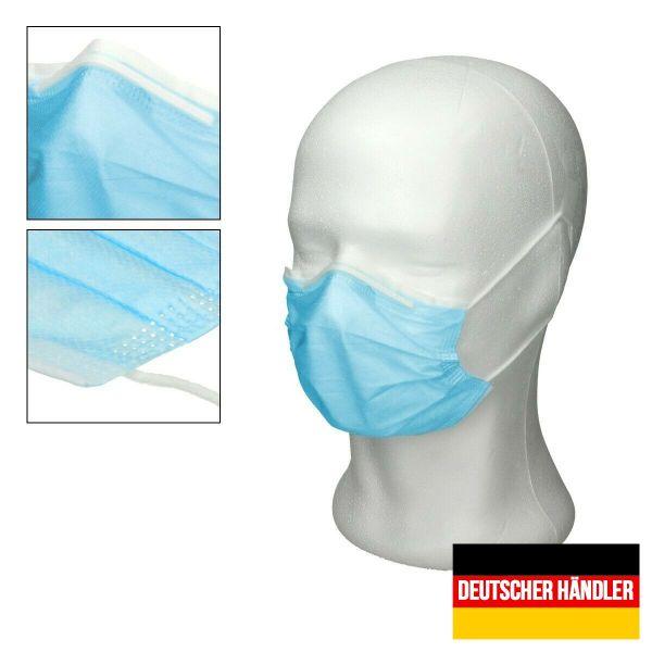 50er Satz Mundschutz Atemschutzmaske Mund-Nasen-Schutz 3-lagig Schutzmaske Blau