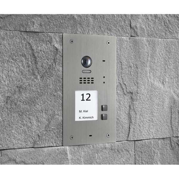 BALTER EVIDA Silber RFID Edelstahl-Türstation 2 Teilnehmer 2-Draht BUS 170° Ultra-Weitwinkelkamera