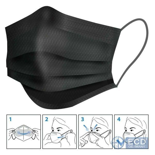 50er Satz Mundschutz Atemschutzmaske Mund-Nasen-Schutz 3-lagig Schutzmaske Schwarz