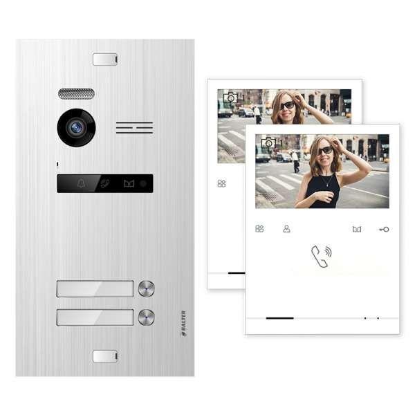 Balter EVO Silber Video Türsprechanlage Quick Monitor 2-Draht BUS Komplettsystem für 2 Teilnehmer