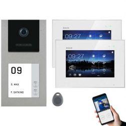Balter EVO-AP Silber Video Türsprechanlage 7 WiFi Touchscreen RFID 2-Draht BUS Set für 2 Teilnehmer