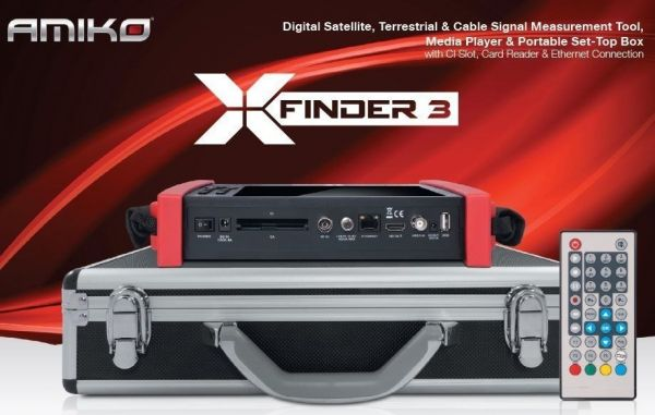 Amiko X-Finder 3 HD DVB-S/S2 + C/T/T2 Satfinder LCD Display Messgerät Akku