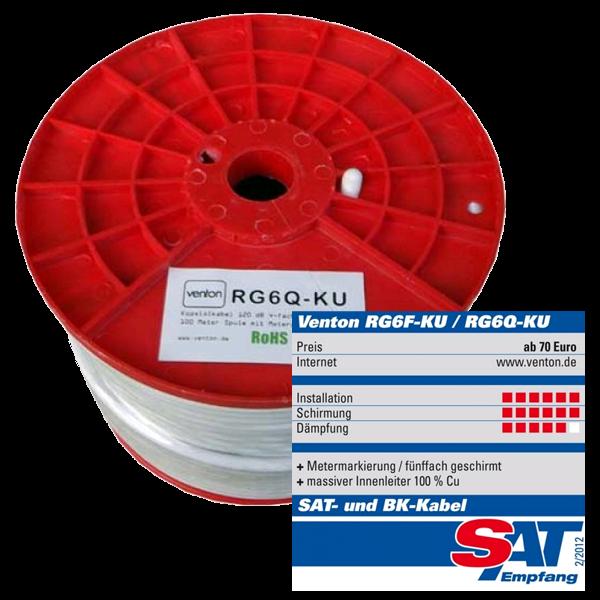 Venton Koaxial Sat Kabel RG6Q-KU 130dB 4-fach geschirmt High Quality 100m Rolle