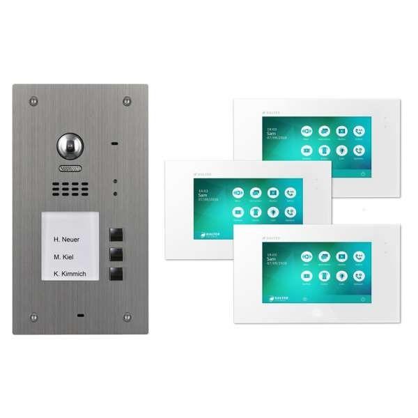 BALTER EVIDA Silber RFID Edelstahl Video Türstation 3 Teilnehmer 2-Draht BUS 170° Kamera