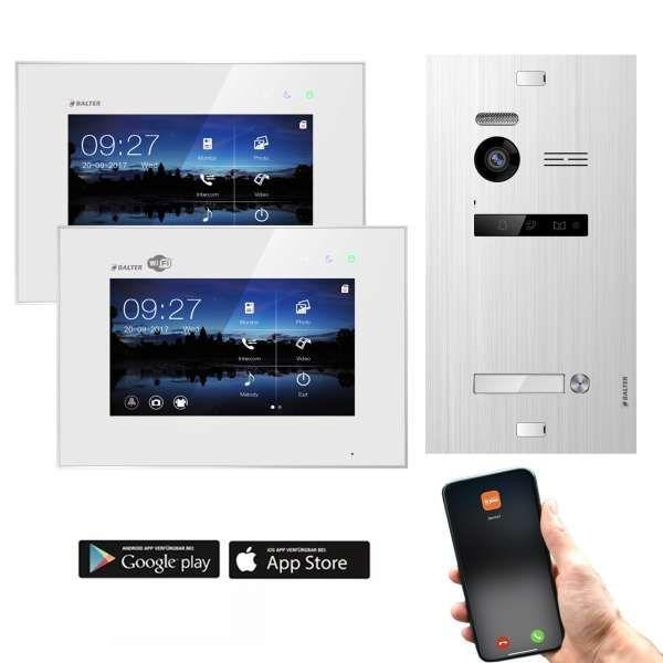 Balter EVO SILVER Video-Türsprechanlage 7 Wifi 2xMonitore 2-Draht BUS für 1 Familienhaus App