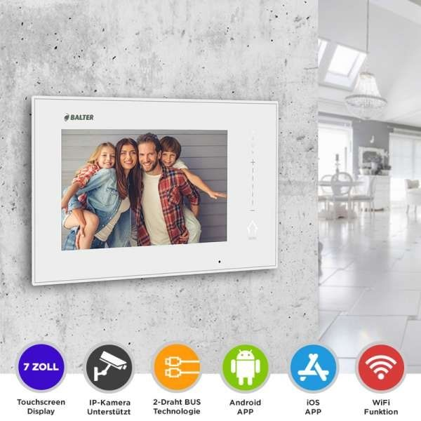 BALTER ERA 7 IP WiFi Touchscreen HD Monitor 2-Draht IP BUS Weiss iOS Android App