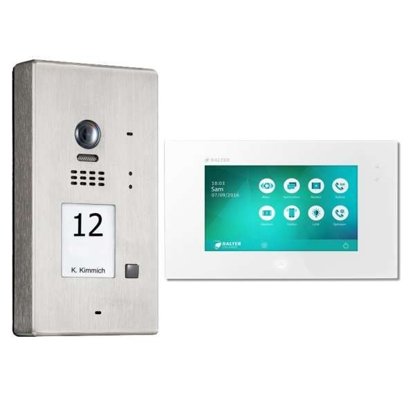 BALTER EVIDA Silber RFID Edelstahl 2-Draht BUS Video Türstation Aufputz 1 Familienhaus Set
