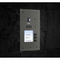 Preview: BALTER EVIDA Silber RFID Edelstahl-Türstation 3 Teilnehmer 2-Draht BUS 170° Ultra-Weitwinkelkamera