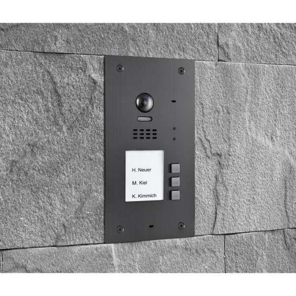BALTER EVIDA Graphit RFID Edelstahl-Türstation 3 Teilnehmer 2-Draht BUS 170° Ultra-Weitwinkelkamera