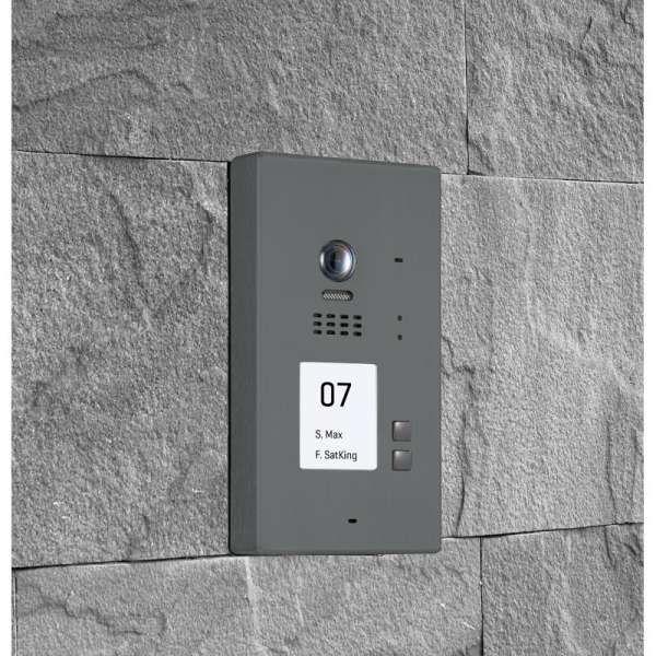 BALTER EVIDA Graphit RFID Edelstahl 2-Draht BUS Video Türstation Aufputz 2 Familienhaus Set
