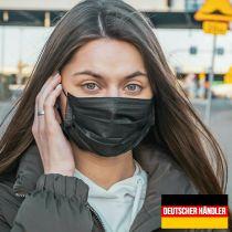 Vorschau: 50er Satz Mundschutz Atemschutzmaske Mund-Nasen-Schutz 3-lagig Schutzmaske Schwarz
