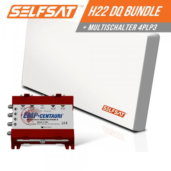 Selfsat H21DQ 4 TV Teilnehmer SAT Flachantenne FLAT + Multischalter 5/4 FULL HD 4K