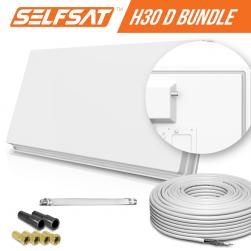 Selfsat H30D1+ 1 TV Teilnehmer SAT Flachantenne FLAT + Fensterdurchführung + Kabel FULL HD 4K