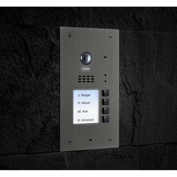 BALTER EVIDA Silber RFID Edelstahl Video Türstation 4 Teilnehmer 2-Draht BUS 170° Kamera