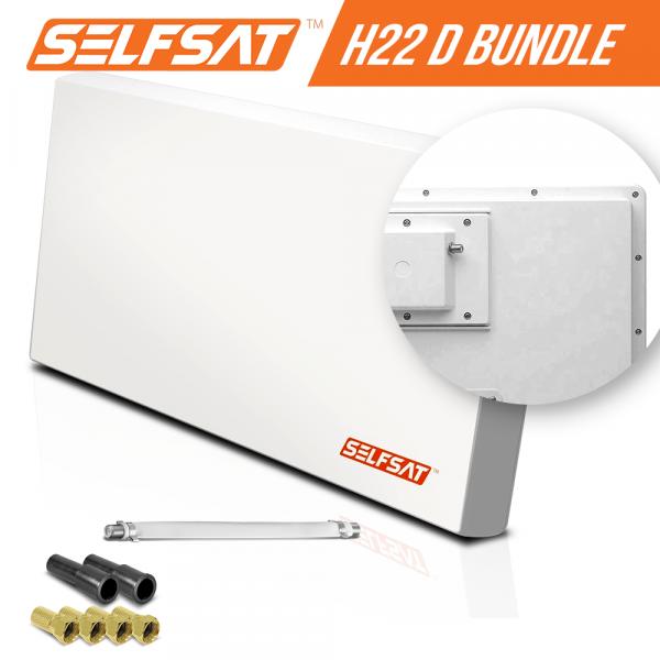 Selfsat H21D+ 1 TV Teilnehmer SAT Flachantenne FLAT + Fensterdurchführung FULL HD