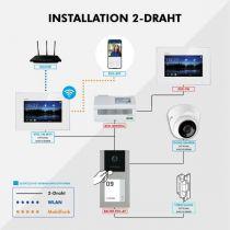 Preview: Balter EVO-AP Silber Video Türsprechanlage 7 Touchscreen RFID 2-Draht BUS Set für 3 Familienhaus