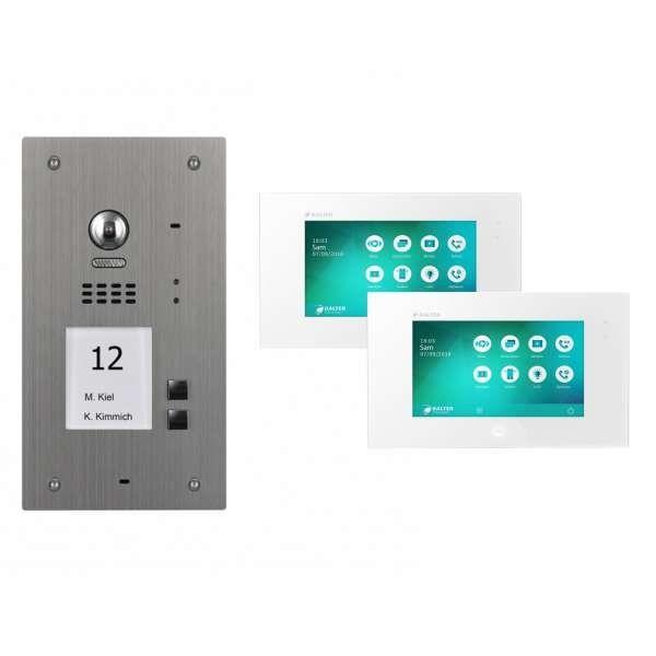 BALTER EVIDA Silber RFID Edelstahl Video Türstation 2 Teilnehmer 2-Draht BUS 170° Kamera
