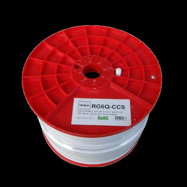 Venton Koaxial Sat Kabel RG6Q-CCS 120dB 4-fach geschirmt High Quality 100m