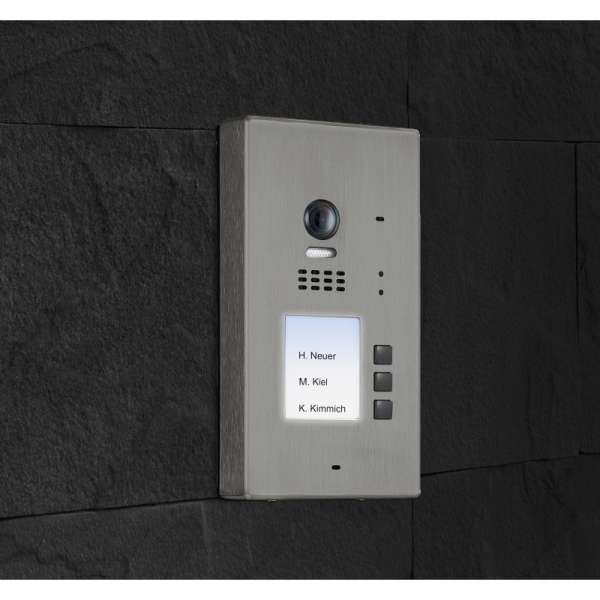 BALTER EVIDA Silber RFID Edelstahl 2-Draht BUS Video Türstation Aufputz 3 Familienhaus Set
