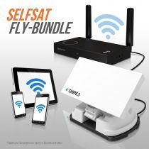 Vorschau: Selfsat SNIPE V3 FLY 100-Bundle - White Line - Single - Vollautomatische Satelliten Antenne
