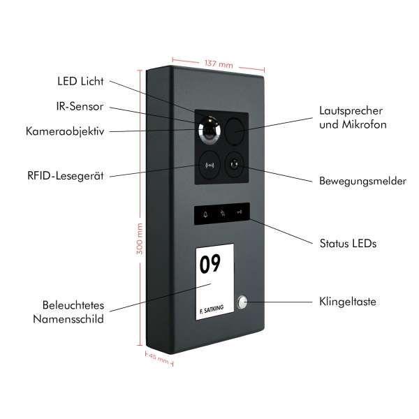 Balter ERA Graphit RFID 2-Draht BUS IP Türstation 1 Familienhaus 150° Weitwinkelobjektiv Aufputz