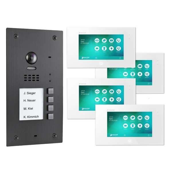 BALTER EVIDA Graphit RFID Edelstahl 2-Draht BUS Video Türstation 7 Monitor 4 Familienhaus Set