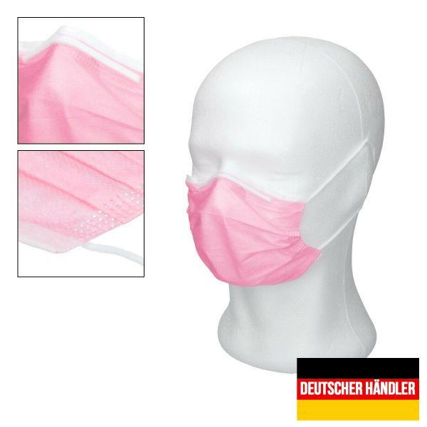 50er Satz Kinder Mund-Nasen-Schutz 3-lagig Mundschutz Gesichtsmaske für Kinder Pink
