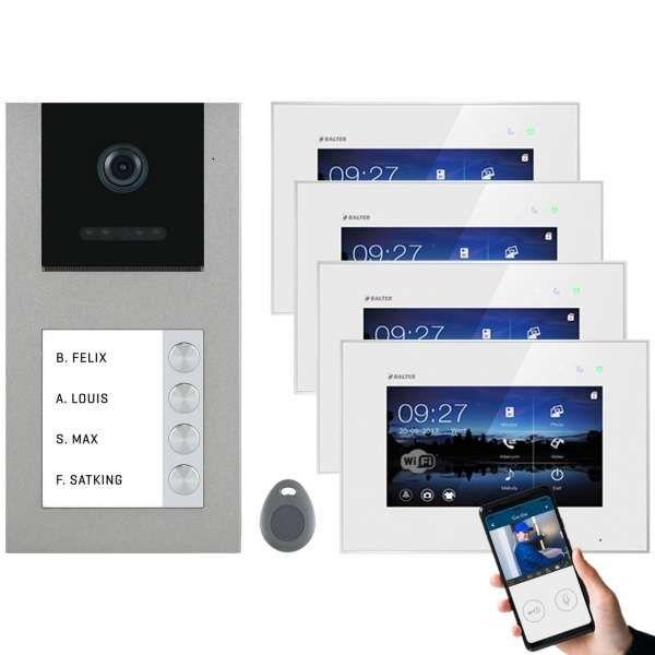 Balter EVO-AP Silber Video Türsprechanlage 7 WiFi Touchscreen RFID 2-Draht BUS Set für 4 Teilnehmer