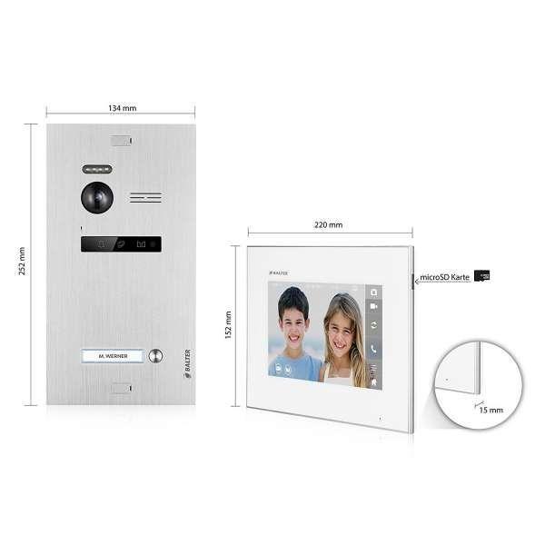 Balter EVO SILVER Video-Türsprechanlage 7 Wifi Monitor 2-Draht BUS für 3 Familienhaus App Steuerung