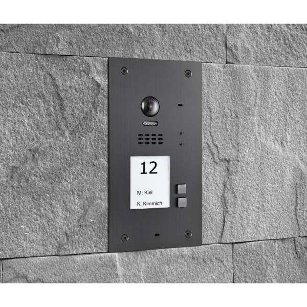 BALTER EVIDA Graphit RFID Edelstahl-Türstation 2 Teilnehmer 2-Draht BUS 170° Ultra-Weitwinkelkamera