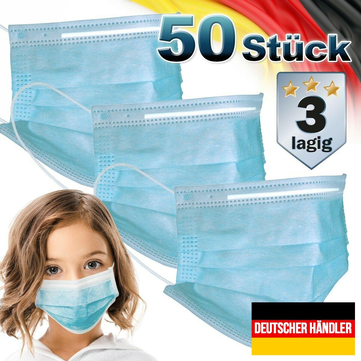 Zubehör 50er Satz Kinder Mund-Nasen-Schutz 3-lagig Mundschutz Gesichtsmaske für Kinder Blau