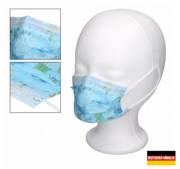 50er Satz Kinder Mund-Nasen-Schutz 3-lagig Mundschutz Gesichtsmaske für Kinder Blau mit Muster