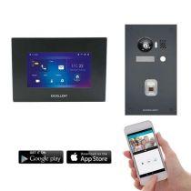 Preview: Excellent IP Video-Türsprechanlage 7 Touch LCD Komplettsystem 1 Familienhaus Fingerprint Anthrazit